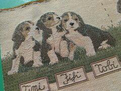 人気のゴブラン織り可愛い子犬柄 (1パネ=約22cX約22c)X2枚入りFー00111[レース工房太陽]