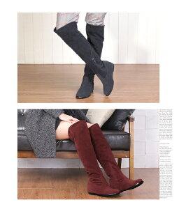 ニーハイブーツ美脚ニーハイブーツこんな綺麗な脚になるなんて!!ストレート4cmインヒールトレンド2wayロングブーツ【黒ベージュグレーグレージュレッド赤ネイビー】レディース靴
