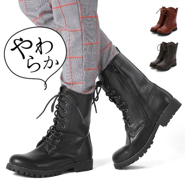 ショートブーツ黒レディースレースアップブーツミリタリーブラウン春マニッシュシューズ靴編み上げブーツグレーハイカットシューズ赤