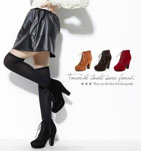 レースアップブーツショートブーツ編み上げブーツウエッジヒールブーツ<ベージュ><黒><レッド><キャメル><ブラウン>(ヒール10cm)春ブーツレディース靴★615-67★R615-66★