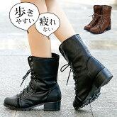 ブーツショートブーツ編み上げレースアップヒール高さ3.9cm黒ブラック茶色ブラウン大きいサイズ3Lレディース靴★ff-185★新作ブーツ【P】卒業式袴ブーツ