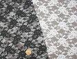 花柄ラッセルレース生地(ポリエステル) 白 黒 ラッセルレース 生地 カーテン インテリア ブライダル ウェディング ベール ドレス 手作り 手芸