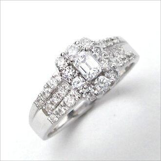 ダイヤモンドリングPt900エメラルドカット【0.232ctEカラーSI-2】中央宝石研究所鑑定書CGLプラチナダイヤリング取り巻き指輪