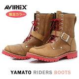 バイク シューズ ブーツ 数量限定おすすめ おしゃれ レザー サイドジッパー ベージュ AVIREX(アビレックス) ライダースブーツ YAMATO AV2100CHRD 取寄品