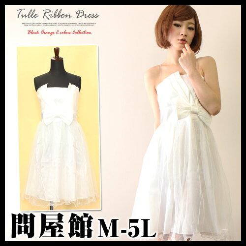 大きいサイズ レディース ベアトップドレス シフォン 白 white ドレス ホワイト 夏物 パーティー d...