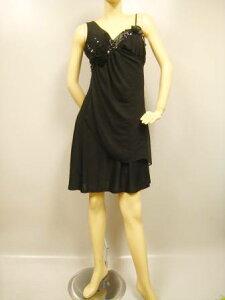 2134a6f16a7a4 カラオケ 衣装 ドレス ステージ衣装 ノースリーブワンピース 。サテン地にノースリーブ!バスト部分に豪華ビーズ、サテンモチーフ!胸パットあり。透明ストラップ付き。