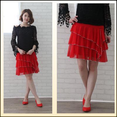 丈短か社交ダンススカート、シースルー地ミニフリ三段ティアード、すそはシルバーベビーロック。裏地つき。赤