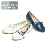 【送料無料】デッキシューズ〔大きいサイズ25.0cm/25.5cm/26.0cm/センチ〕〔ヒール1cm〕【モデルサイズ】【レディース靴】【婦人靴】【歩きやすい】【ネイビー/ホワイト/白/青】