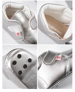 【★ベビーファーストシューズベルクロ】赤ちゃん出産祝い軽量ベルクロ履きやすい軽量人気おしゃれホワイトシルバー日本製匠の技本革人工皮革レザーお誕生日プレゼントはじめての靴