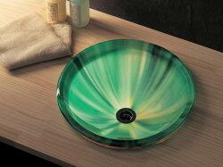 強化ガラス製洗面ボウルAQUA「グリーン」