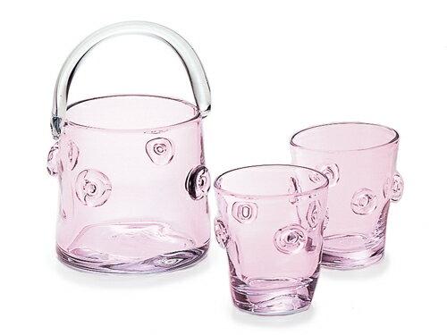 〔手作り ガラス食器〕さくらアイスペール&ペアロックグラス【炭酸水】