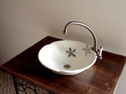 洗面ボウル手洗い鉢ナチュレあさつゆ「モノトーン」Lサイズ