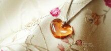 『Coralheart~大きな幸せ~』ガラスアクセサリーネックレス・ペンダントハートタイプ