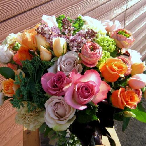 ル・モンシュリー■花 アレンジメント 花束 ローズ ばら 薔薇 記念日 結婚祝い 贈り物 ...
