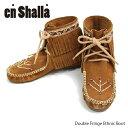 【En Shalla-エンシャーラ-】Double Fringe Ethnic Boot-ダブルフリンジエスニックブーツ-[ENS-006][レディース・ぺたんこショートブーツ・セレカジ]《発送にはご注文後3営業日程頂きます。》