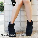 『Pompadour-ポンパドール-』Sheepskin Mouton Boot Mini-シープスキン ムートンブーツ ミニ-[14512][レディース・本革・リアルスウェード・リアルファー・ボア・ショートブーツ]