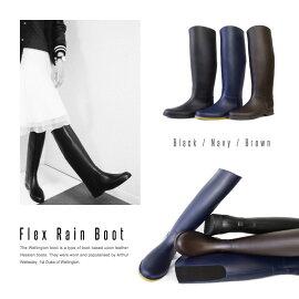 【Pompadour-ポンパドール-】FlexRainBoot-フレックスレインブーツ-[長靴バックリブロングラバーブーツジョッキーゴム斜めカット美脚]