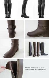 【Pompadour-ポンパドール-】SideZipRainBoot-サイドジップレインブーツ-[長靴ファスナーロングラバーブーツベルトジョッキー斜めカット美脚]