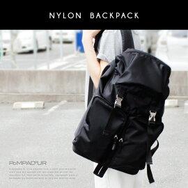 【予約】【Pompadour-ポンパドール-】NylonBackpack-ナイロンバックパック-[専用保存袋付き][ユニセックスメンズレディースリュックデイパックブラック軽量]《5月28日前後発送予定》