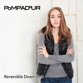 【送料無料】【2015-2016NEW】【Pompadour-ポンパドール-】ReversibleDownVest-リバーシブルダウンベスト-[レディースダウンジャケット無地カモフラ柄]