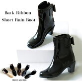 ��Pompadour-�ݥ�ѥɡ���-��BackRibbonShortRainBoot-�Хå���ܥ󥷥硼�ȥ쥤��֡���-