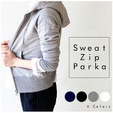 【Pompadour-ポンパドール-】SweatZipParka-スウェットジップパーカー-[レディーストップスアウター]
