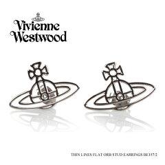 【予約】【返品交換不可】【Vivienne Westwood-ヴィヴィアンウエストウッド-】Thin Lines Flat Orb Stud Earrings-シン ライン フラット オーブ ピアス-[BE157[レディース ビビアン ネックレスとお揃い]《ご注文後3日前後発送予定》