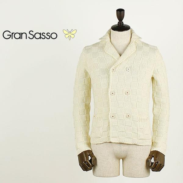 GRANSASSO グランサッソ メンズ 6B チェック ダブルニットジャケット 10128/13931 (オフホワイト)  【返品交換不可】special priceBM:ラグラグマーケット