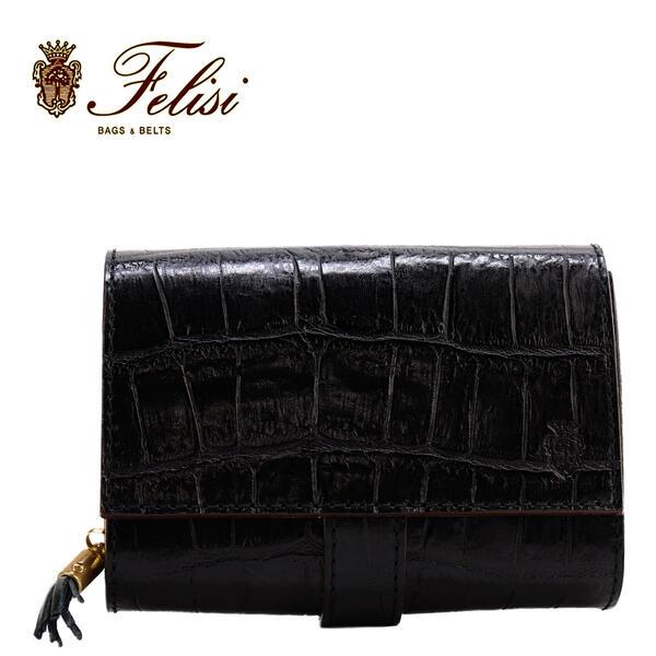 Felisiフェリージクロコダイル型押しエンボスレザーフリンジ付きコロコロ折財布3500/SABLACK003(ブラック)