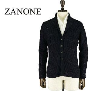 ZANONE ザノーネ メンズ リネンコットン ケーブル編み ニットジャケット CARD SCIAL 812159 Z1330 Z1222(ダークネイビー)