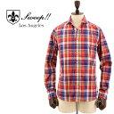 SWEEP!! スウィープ!! メンズ コットン マドラスチェック柄 ホリゾンタルカラーシャツ Madras HZ RED(レッド×ネイビー)