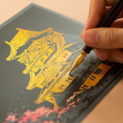 スクラッチアート大人の趣味削り塗り絵女子高生雑貨スクラッチポストカードチェリーブロッサムサクラスクラッチ
