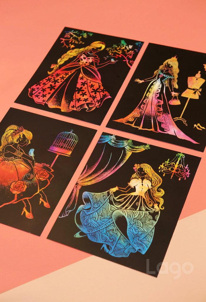 キッズプリティープリンセスSTマークスクラッチアート大人の趣味削り塗り絵女子高生雑貨お姫様プリンセス塗り絵お姫様塗り絵