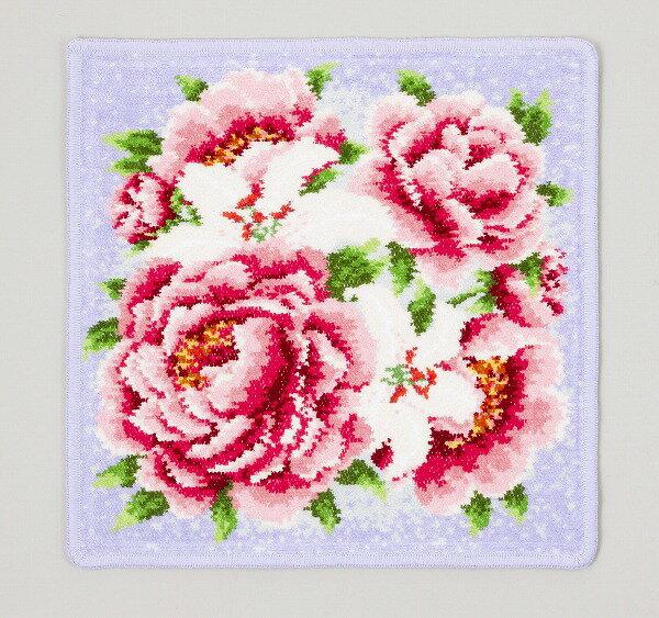レイクアルスター定番のシェニール織ハンカチ。ピオニー。花柄。プレゼント。