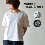 PROJECTTRADEMARK(プロジェクトトレードマーク)ロゴTシャツトップスクルーネックTシャツコットンゆったり厚手半袖レディース