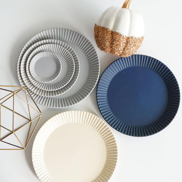 【作山窯-SAKUZAN-】Stripe PlateL  ストライププレートL リム皿 SAKUZAN DAYS Sara お皿 27cm プレート ランチプレート 大皿 カフェ サラ 磁器 日本製 陶器画像