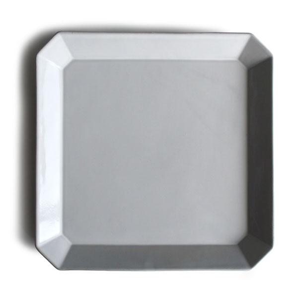 【Des-pres】デ・プレ スクエアプレート L ディナープレート 八角 四角 黒土 グレイ クラシカル パスタプレート お皿 大皿 陶器 日本製