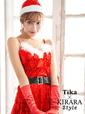 Tika キラキラ サンタ コスチュームセット ワンピース 大きいサイズ サンタクロース コスプレ かわいい コス コスチューム サンタコスプレ サンタ衣装 サンタコス クリスマス レディース セクシー キャバ キャバ嬢