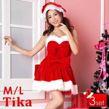 Tika ティカ リボン フレアスカート ベア コスチューム ワンピース M Lサイズ レッド 大きいサイズ サンタクロース コスプレ かわいい コス コスチューム サンタコスプレ サンタ衣装 サンタコス セクシー キャバ キャバ嬢