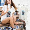 Colleen×LaLeiaコラボアイテム!人気のデザインがTシャツで登場♪「Colleen Wilcox Duck DiveTシャツ」Tシャツ/レディース/白T/ハワイ/ハワイアン/コリーン/コリーンウィルコックス/ラレイア/laleia