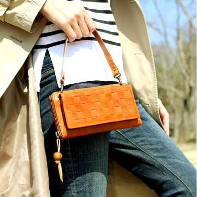 メッシュの編み込みが美しいお財布ポーチ お財布ポシェット スマホ