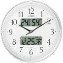 温度・湿度計付CITIZEN シチズン 電波掛時計 ネムリーナカレンダーリブ4FYA05-003[4FYA05003]