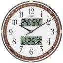 【茶メタリック色/白】温度・湿度計付CITIZEN シチズン 電波掛時計 ネムリーナカレンダーリブ  4FYA05-006[4FYA05006]