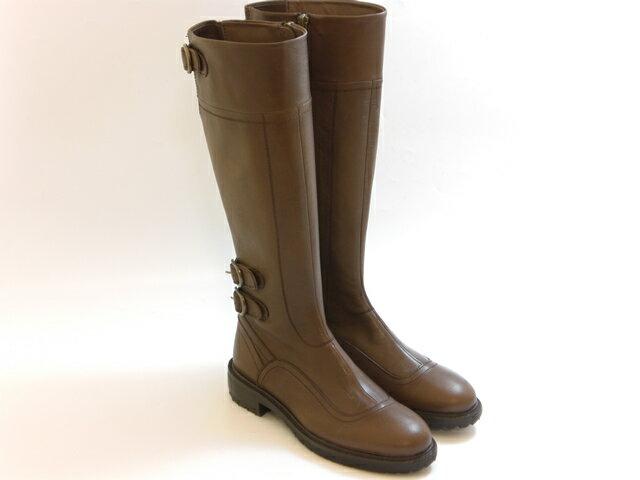 ≪30% OFF SALE≫SAYA サヤベルトデザイン カジュアルロングブーツ(グレージュ) レディース シューズ 靴 セール品につき返品・交換・キャンセル不可