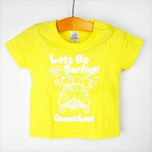 オーシャンズラブ OCEAN'S LOVEキッズ Let's Go Surfing Tシャツ ライトイエローNPO法人 ボランティア サーフィン おしゃれ