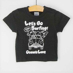 オーシャンズラブ OCEAN'S LOVEキッズ Let's Go Surfing Tシャツ ブラックNPO法人 ボランティア サーフィン おしゃれ