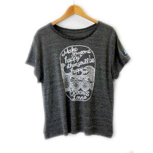 オーシャンズラブ OCEAN'S LOVEレディース Make Happy ワイドTシャツ グレーNPO法人 ボランティア サーフィン おしゃれ