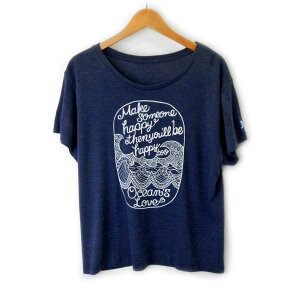 オーシャンズラブ OCEAN'S LOVEレディース Make Happy ワイドTシャツ ネイビーNPO法人 ボランティア サーフィン おしゃれ