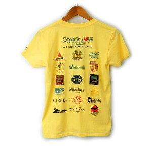 オーシャンズラブ OCEAN'S LOVEレディース マハロハワイ Tシャツ ライトイエローNPO法人 ボランティア サーフィン おしゃれ