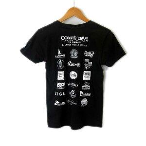 オーシャンズラブ OCEAN'S LOVEレディース マハロハワイ Tシャツ ブラックNPO法人 ボランティア サーフィン おしゃれ